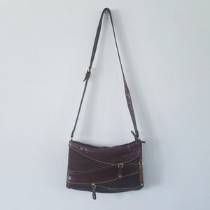 Cole Haan brown leather zipper crossbody purse bag
